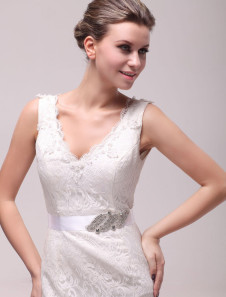 Charming Ivory Rhinestone Medium Shiny Wedding Sash For Bride