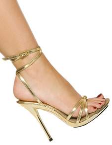 Gold Glitter Open Toe Patent PU Upper Women's Sexy Sandals