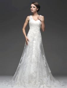 Image of Abbigliamento da sposa a-linea con bretelle sottili di pizzo avo