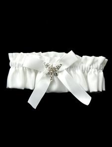 Image of Giarrettiera sposa splendida raso fiocco bianco