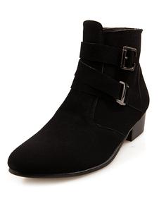 Image of Fibbie cuoio rotondo Toe Stivali di moda per gli uomini