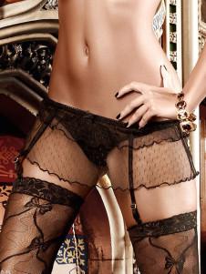 Image For Pizzo nero puro colore solido poliestere seducente reggicalze