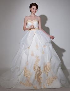 Image of Vestito da sposa con strascico da ballo senza spalline in organza avorio ricamato Milanoo