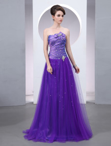 Tulle Evening Dress Lavender Bow Beaded Prom Dress Strapless Sleeveless A Line Floor Length Party Dress