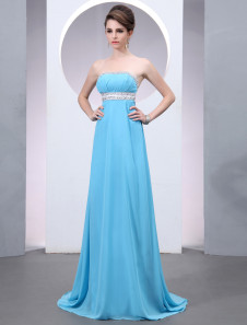 Chiffon Evening Dress Aqua Beaded Prom Dress Strapless Sleeveless  A Line Sweep Party Dress