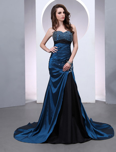 mermaid-royal-blue-pleated-chapel-train-evening-dress
