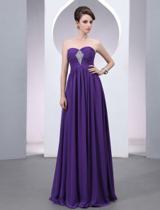 Chiffon Evening Dress Lavender Beading  A Line  Prom Dress Strapless Sweetheart Floor Length Party Dress