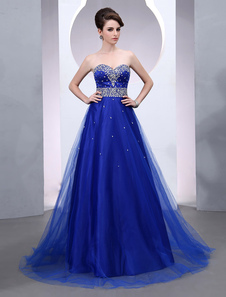 Image of Blue Prom Dress 2018 Long Tulle Wedding Dress Royal Blue Backless Strapless Sweetheart Court Train Bridal Gown
