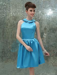 Image of Vestito da Cocktail blu sexy in raso elastico con collo rotondo