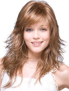 Image of Parrucca di media di qualità luce marrone ricci sintetico donna elegante