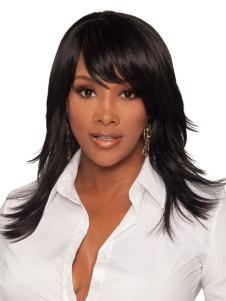 Image of Parrucca media da donna di media qualità di colore nero medio dritto