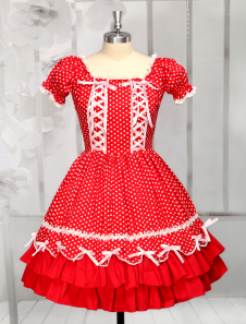 red-cotton-short-sleeves-square-neck-drawstring-lolita-dress