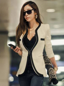 Fashion Cotton Fibers V-Neck Women's Blazer