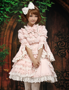 Image of Dolce maniche lunghe cotone Blend luce rosa Lolita Outfit