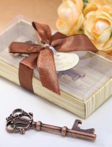 Image of Favore di bottiglia chiave antico metallo marrone per il matrimonio