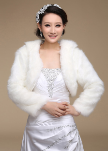 Ecru White Long Sleeves Coat Sleeves Faux Fur Wedding Shawl For Bride