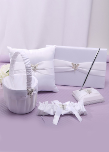 5-Piece White Plastic Paper Wedding Collection Set
