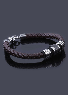 brown-lobster-claw-clasp-stainless-steel-bracelet