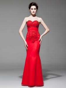 Robe exquise de soirée rouge sirène bustier avec dentelle longueur plancher