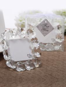 Image of Cristallo di cuore assetto matrimonio portafoto