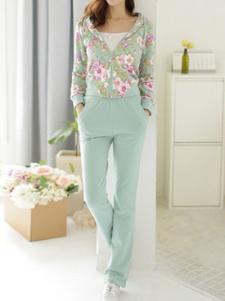 Tuta sportiva due pezzi blu chiara casual con stampa floreale in cotone con maniche lunghe