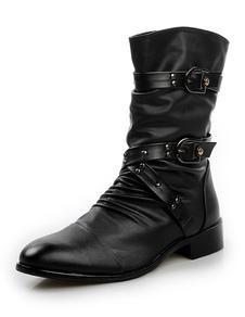 Image of Stivali neri con fibbia mandorla di PU per uomo