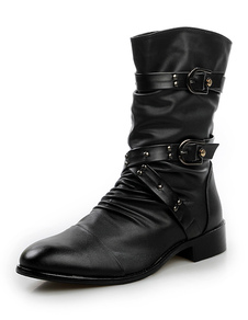 Image of Nero stivali fibbia mandorla Toe PU Leather uomo