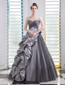 Ball Gown Deep Gray Tulle Sweetheart Quinceanera Dress  Milanoo
