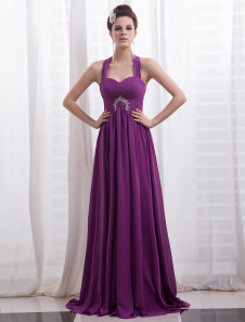 Chiffon Evening Dress Magenta Rhinestone Beaded Prom Dress  Halter A Line Floor Length Party Dress