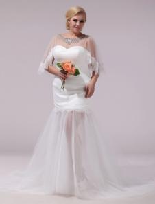 Image of Abito da sposa avorio in tulle con collo rotondo e perline Milanoo