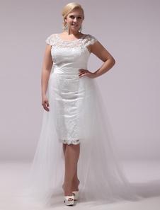 Image of Vestito da sposa avorio in tulle con collo rotondo e cintura  Milanoo
