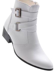 Image of Fibbia mandorla Toe PU stivali di pelle per uomo