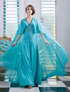 Chiffon Evening Dress Turquoise Beaded Prom Dress V Neck Sleeveless A Line Floor Length Party Dress With Watteau Train