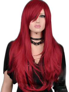 Red Straight Synthetic Classic Women's Long Halloween wig