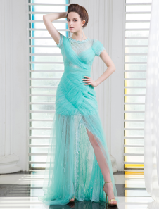 Tulle Evening Dress Turquoise ruched Prom Dress Jewel Neck Short Sleeves Floor Length Party Dress