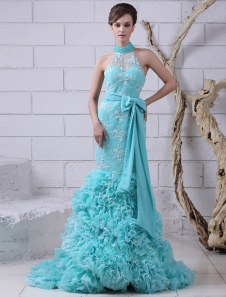 Mermaid Evening Dress Lace Applique Beaded Prom Dress Turquoise High Collar Sleeveless Bow Sash Party Dress With Court Train