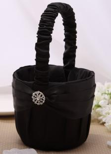 Black Rhinestone Flower Girl Basket