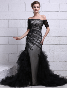 Black Wedding Dress Ruched Tulle OfftheShoulder Side Tulle Ruffles Lace Applique Mermaid Evening Dress Milanoo