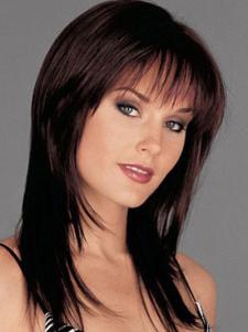 Image of Parrucca medio di fibra termoresistente dritto Chic nero brunastro naturale donna