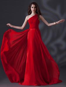 Robe demoiselle d'honneur en chiffon rouge plissé à une épaule