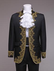 Image of Vestito Vintage Royal Costume barocco Principe Costume nero stile europeo maschile Carnevale