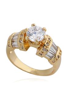 Image of Oro vetro tondo tondo Fashion glamour bronzo brillante anello