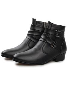 Image of Incredibile cerniera nero mandorle Toe PU stivali di pelle per gli uomini