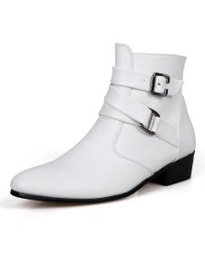 Image of Bianco fibbia PU pelle mandorla Toe Stivali di moda per uomo