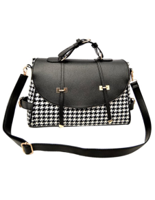 black-pu-leather-houndstooth-print-medium-zipper-hobo-bag-for-women