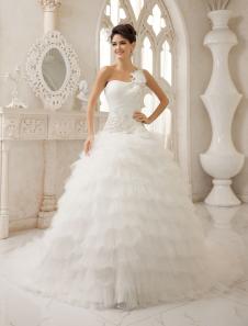 Abito da sposa avorio elegante in taffetà con monospalla con perline con strascico
