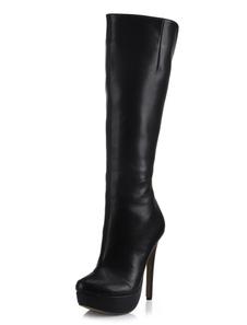 Bottes Noir Large en Veau Plate-Forme d'Amande Talon Aiguille 2018 Cuissardes Femme Bottes Talon Haut