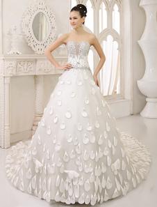 Ivory Aline Strapless Flower Chapel Train Tulle Bridal Wedding Dress