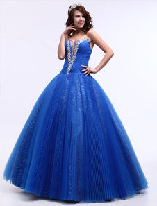 Chic Royal Blue FloorLength Ball Gown Quinceanera Dress with Tulle Sequin