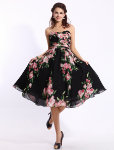 Black Prom Dresses 2017 Short Strapless Floral Print Cocktail Dress Sweetheart Chiffon Party Dress Milanoo